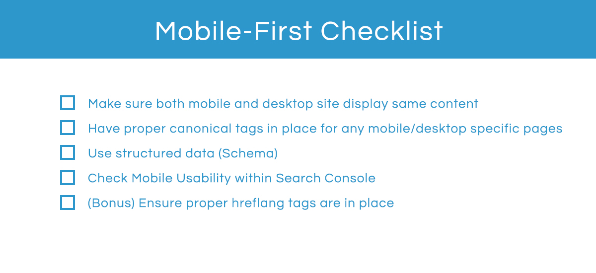 Mobile-first checklist